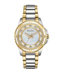 Bulova Ladies Two Tone Watch With Diamond Markers