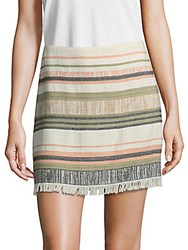 Saks Fifth Avenue Striped Fray Mini Skirt Army