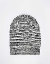 Asos Slouchy Beanie In Black And White Texture Twist