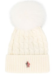 Moncler Grenoble Pom Pom Ribbed Knit Hat White