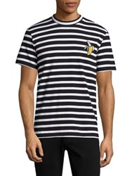 Markus Lupfer Striped Banana Embroidered Tee Black White