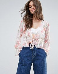 Prettylittlething Floral Print Plunge Blouse Nude Beige