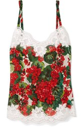 Dolce And Gabbana Lace Trimmed Floral Print Silk Blend Georgette Camisole Red