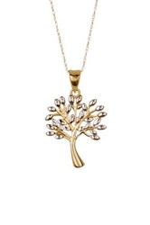 10K Two Tone Gold Tree Pendant Necklace Yellow