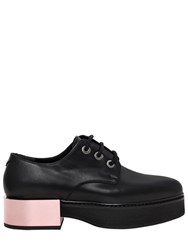 Alexander Mcqueen 40Mm Mirror Heel Leather Lace Up Shoes Black