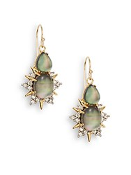 Alexis Bittar Elements Black Mother Of Pearl And Crystal Sunburst Drop Earrings Gold