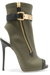 Giuseppe Zanotti Roxie Leather Trimmed Canvas Ankle Boots Army Green