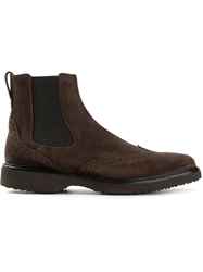 Hogan Brogue Detailed Ankle Boots Brown