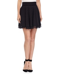 Red Valentino Polka Dot Lace Trim A Line Skirt Black