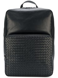 Bottega Veneta Square Top Backpack Lamb Skin Black