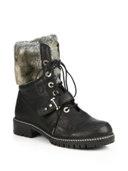 Stuart Weitzman Viking Leather And Faux Fur Lace Up Boots Black