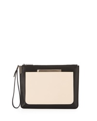 Time's Arrow Mini Ishi Colorblock Leather Wristlet Bone Black