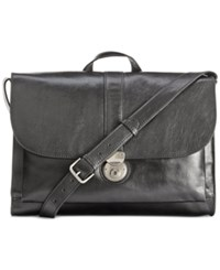 Nash By Patricia Nash Men's Heritage Leather Messenger Bag Black