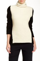 Halston Colorblock Turtleneck Wool Blend Sweater Multi