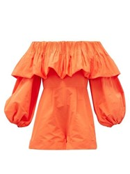 Valentino Off The Shoulder Balloon Sleeve Faille Playsuit Orange