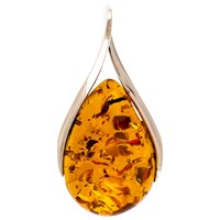 Be Jewelled Cognac Amber Sterling Silver Teardrop Pendant Amber