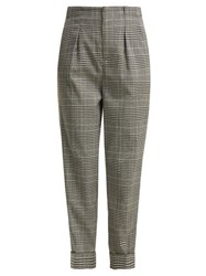 Roland Mouret Horley Checked Wool Blend Trousers Black White