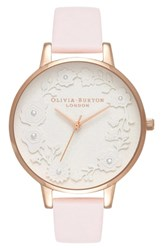 Olivia Burton Artisan Dial Leather Strap Watch 38Mm Blossom White Rose Gold