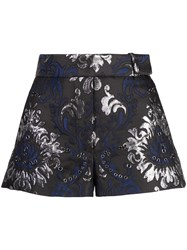 Vera Wang Grommeted Embroidered Shorts Black