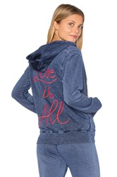 Sundry Light Terry Love Is All Hoodie Blue