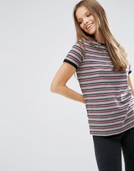 Asos T Shirt In Retro Stripe With Tipping Multi