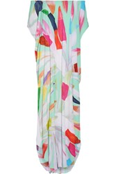 Mara Hoffman Dashiki Off The Shoulder Printed Textured Crepe Maxi Dress Mint