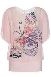 Quiz Pink Chiffon Butterfly Diamante Top