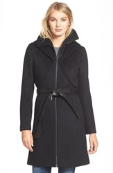 Women's Soia And Kyo 'Arya' Hooded Wool Blend Coat With Belt Black