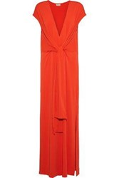By Malene Birger Majao Tie Front Crepe Maxi Dress Tomato Red