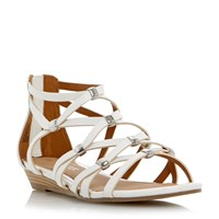 Head Over Heels Lagel Strappy Mini Wedge Sandals White