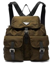 Prada Logo Plaque Nylon Backpack Khaki