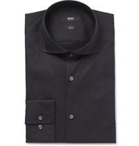 Hugo Boss Blue Jason Slim Fit Cutaway Collar Stretch Cotton Blend Shirt Midnight Blue
