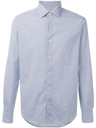 Xacus Geometric Pattern Button Up Shirt Blue