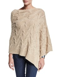 Fisher Project Cable Knit Poncho Sweater Women's Maple Oat Eileen Fisher