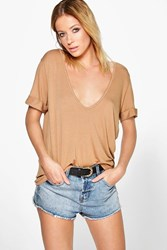 Boohoo Extreme Scoop Front Oversized Tee Camel