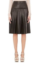 Barneys New York Women's Leather Pleated A Line Knee Length Skirt Dark Green