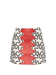 J.W.Anderson Squiggle Print Leather Panel Skirt Black Multi