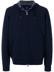 Brunello Cucinelli Zipped Front Hoodie Blue