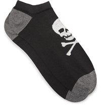 Corgi Skull Patterned Cotton Blend Socks Black