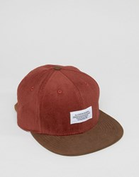 Wesc Cord And Suede Peak Snapback Red