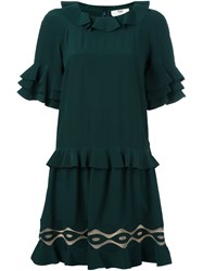 Fendi Shortsleeved Ruffle Dress Green