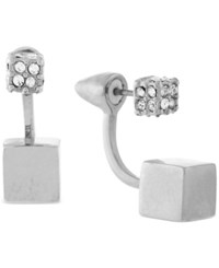 Vince Camuto Pave Cube Front And Back Earrings Silver