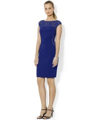 Lauren Ralph Lauren Sequined Lace Boat Neck Dress