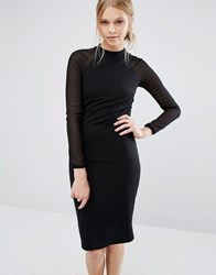 Ted Baker Wrenti Fitted Long Sleeve Rib Dress Black