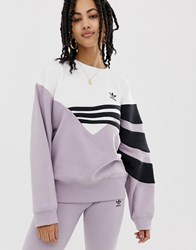 Adidas Originals Linear Sweater In Lilac And Black Soft Vision Purple