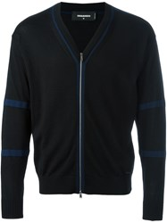 Dsquared2 Zipped Stripe Detail Cardigan Black