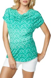 Maternal America Women's Cowl Neck Maternity Nursing Top Mint Ikat