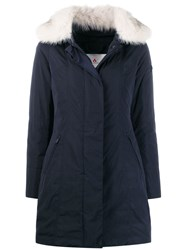 Peuterey Zipped Parka Coat Blue