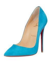 Christian Louboutin So Kate Suede Red Sole Pump Turquoise