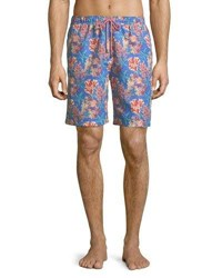 Peter Millar Stars And Coral Swim Trunks Blue